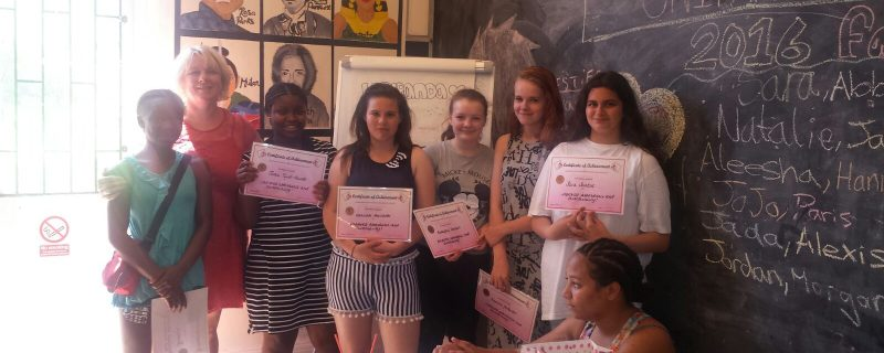 Our girls in the classroom at Young Women's Hub
